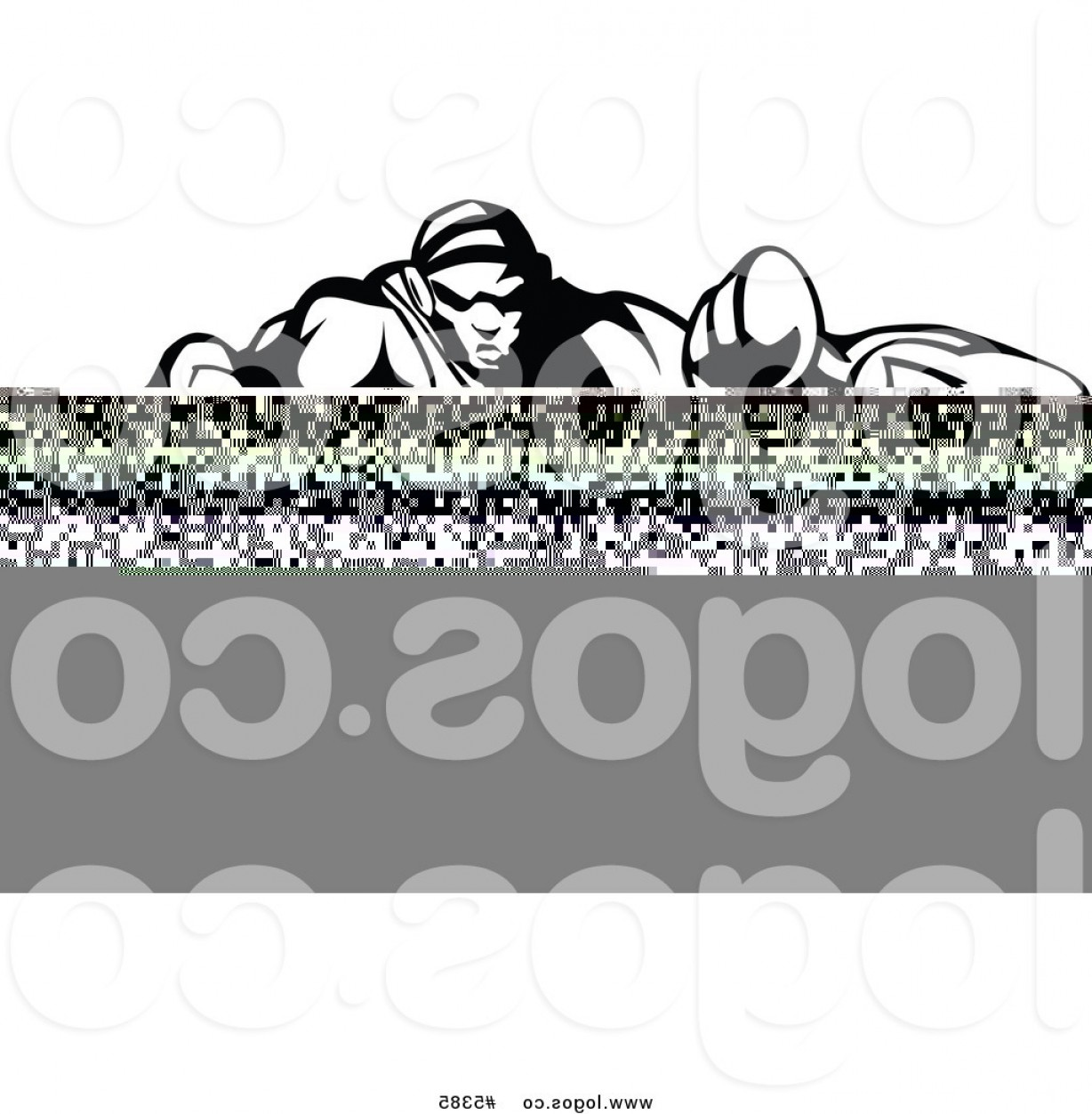 Vector Image Of Strong Wrestler: Royalty Free Vector Of A Logo Of A Black And White Strong Wrestler Lunging Forward By Chromaco