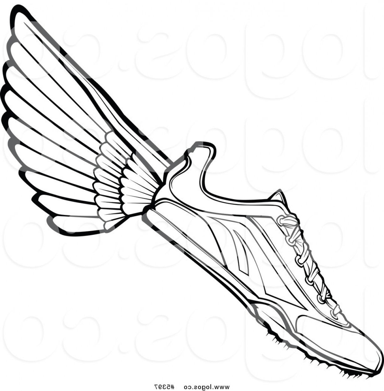 Vector Hi Res Black And White Wing: Royalty Free Vector Of A Logo Of A Black And White Track Shoe With Wings By Chromaco