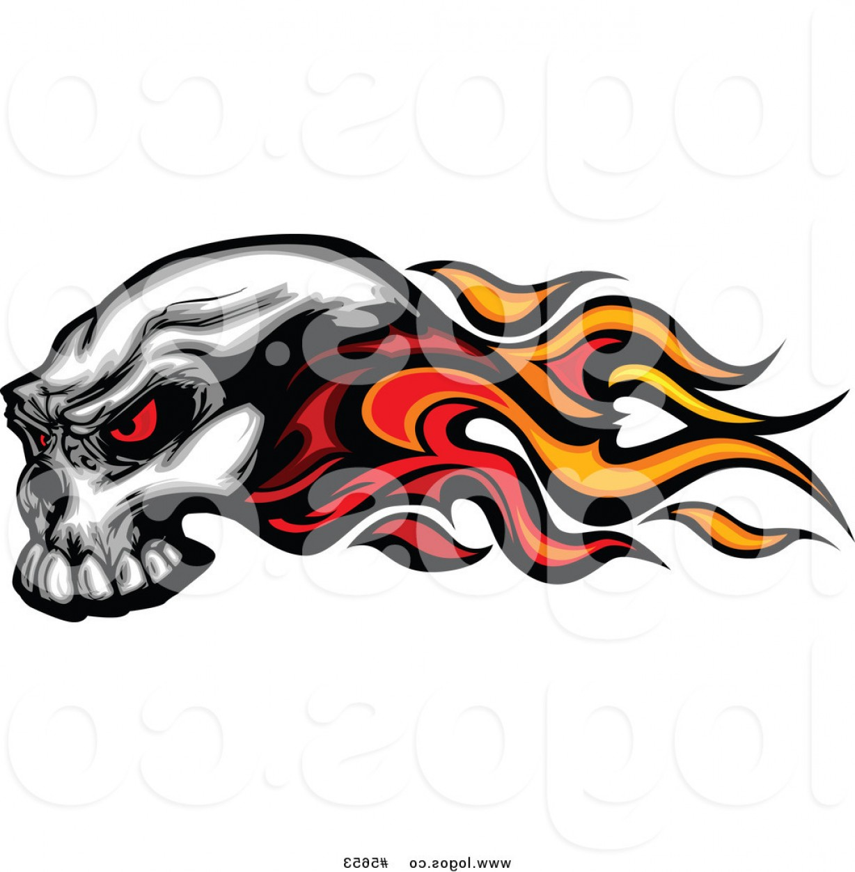 Eye Tribal Skull Vector: Royalty Free Vector Of A Logo Of A Flaming Red Eyed Skull By Chromaco