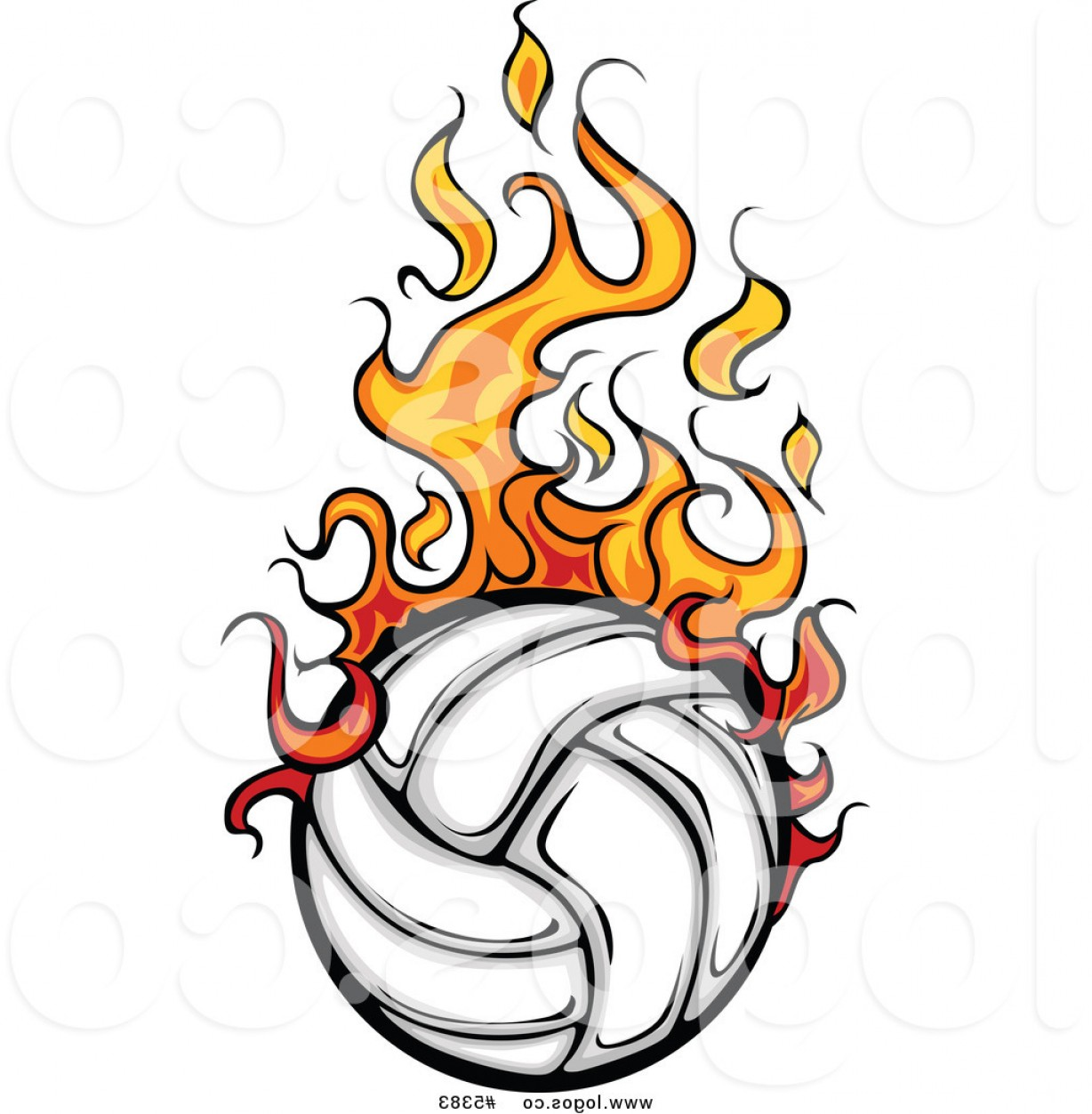 Volleyball Vector Logo: Royalty Free Vector Of A Logo Of A Flaming White Volleyball By Chromaco