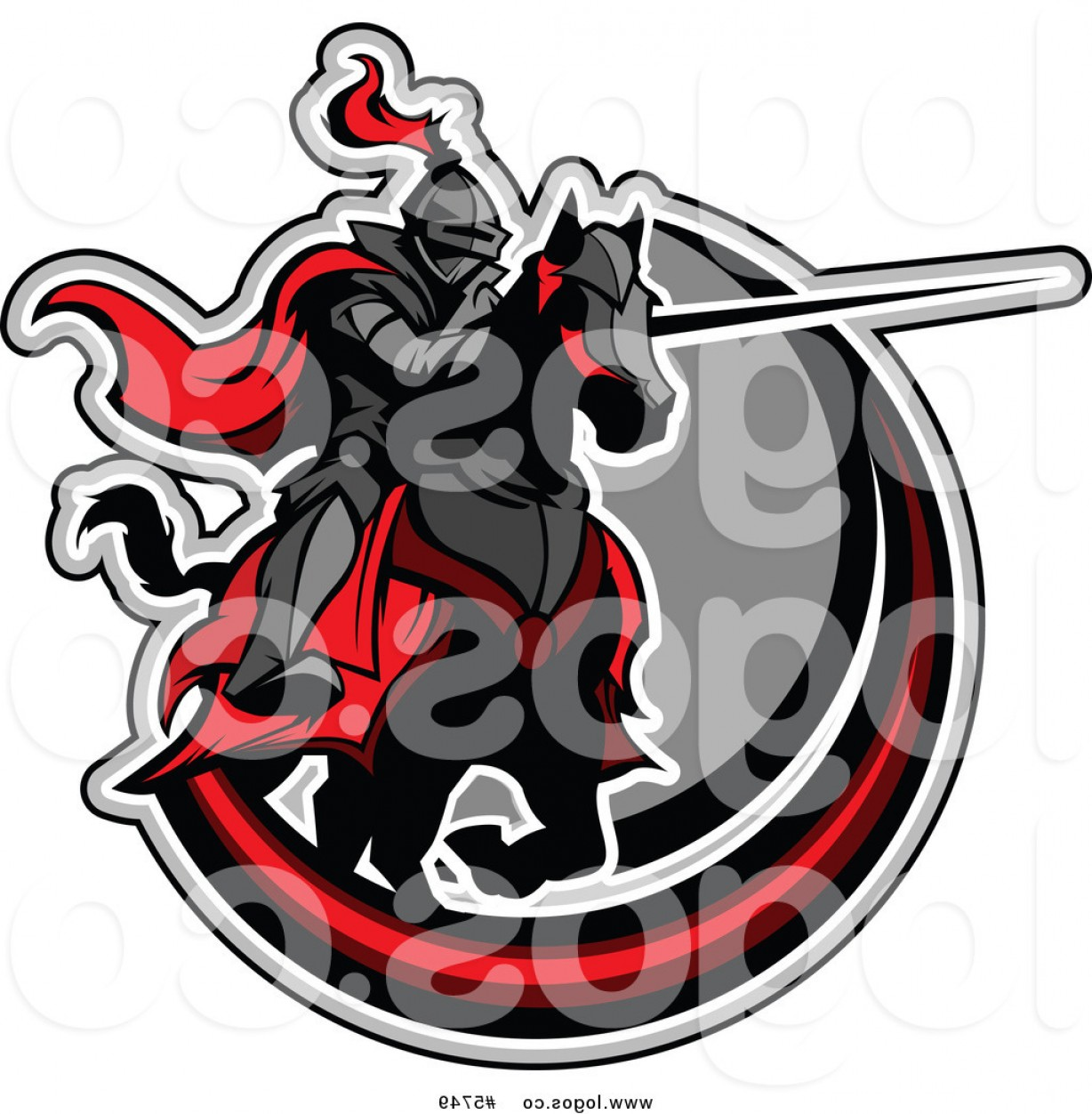 Vector NBA LogoArt: Royalty Free Vector Of A Logo Of A Horseback Jousting Knight Pointing His Lance In A Circle By Chromaco