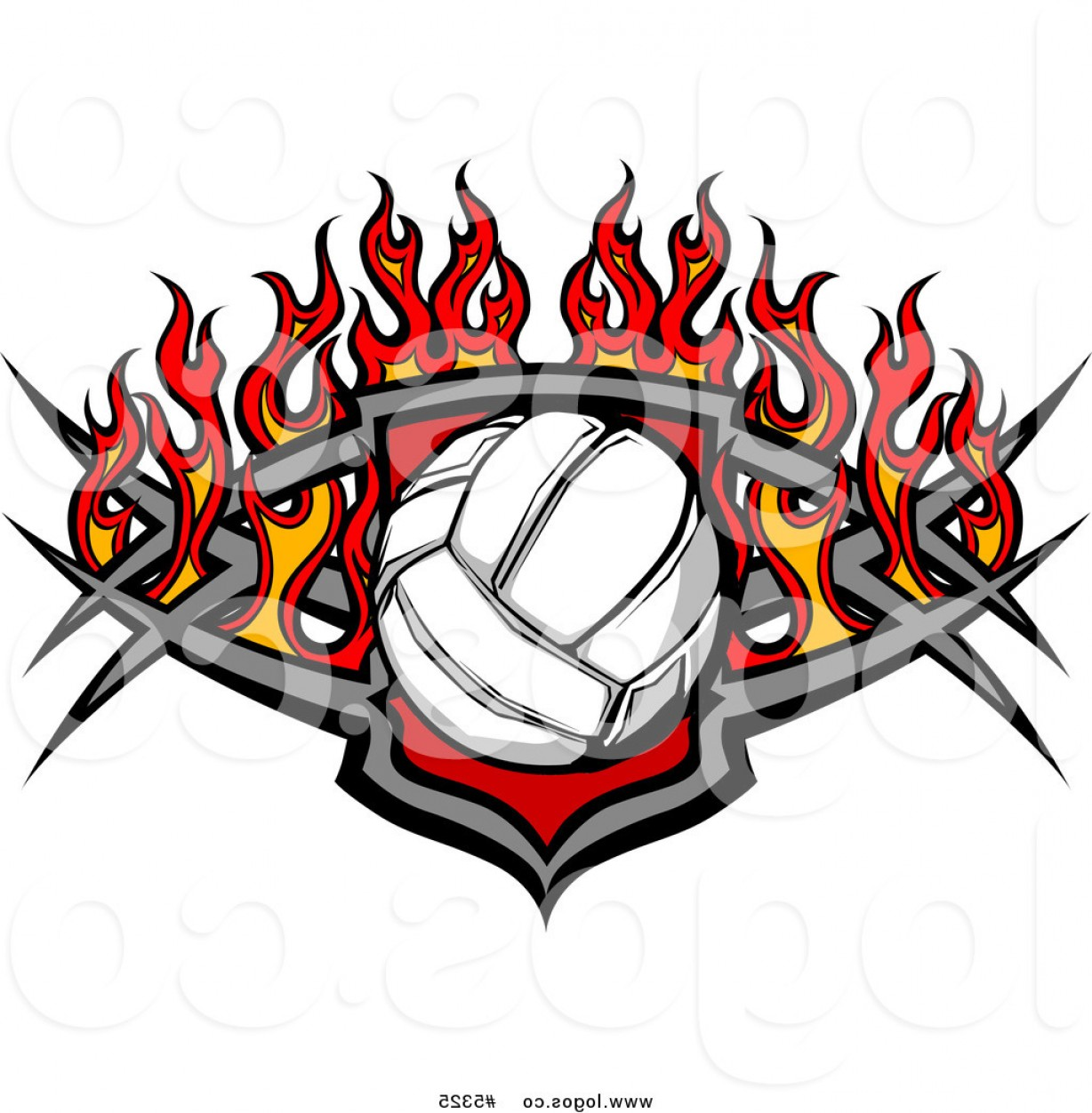 Volleyball Vector Logo: Royalty Free Vector Of A Logo Of A Volleyball Tribal Shield With Flames By Chromaco