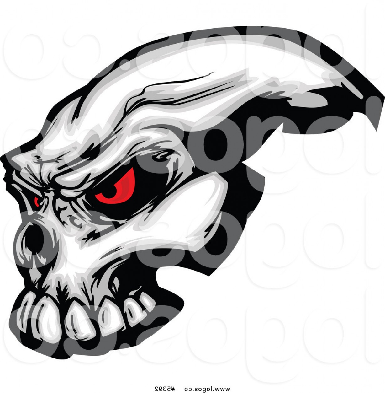 Eye Tribal Skull Vector: Royalty Free Vector Of A Logo Of An Evil Skull With Red Eyes By Chromaco