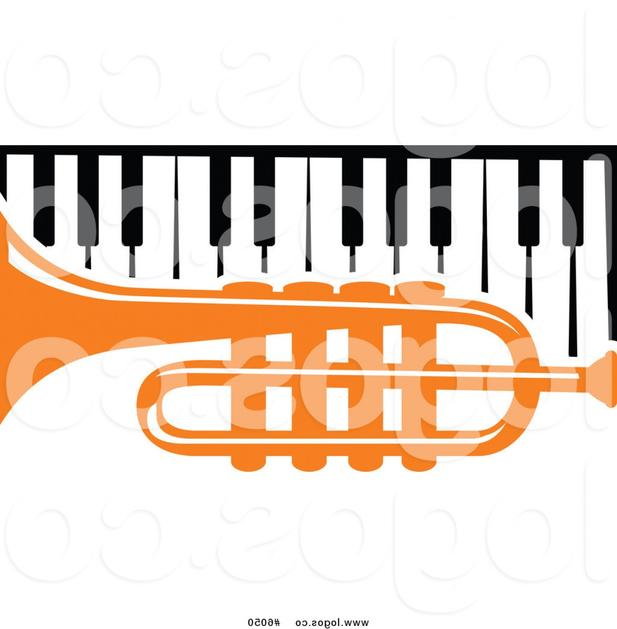 Musical Keyboard Vector: Royalty Free Vector Of A Logo Of An Orange Trumpet Over A Piano Keyboard By Vector Tradition Sm