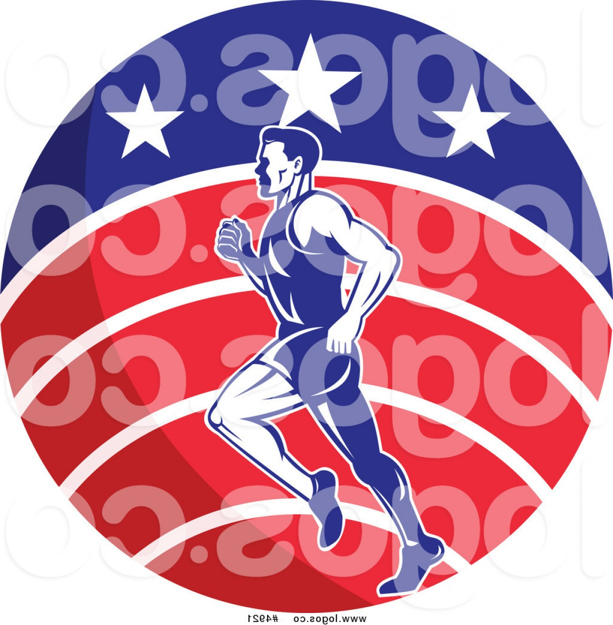 Road Runner Vector: Royalty Free Vector Of A Male Marathon Runner Over A Usa Circle Logo By Patrimonio