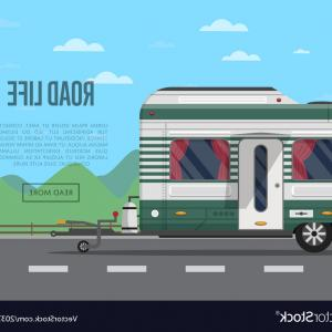 Vector Road RV: Road Life Poster With Camping Trailer Vector