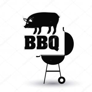 BBQ Pig Vector Black And White: Roasted Pig Vector