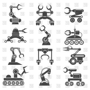 Contents Symbol Vector: Robot Arms Icons Technology Factory Robot Manufacturing Elements Vector Clipart