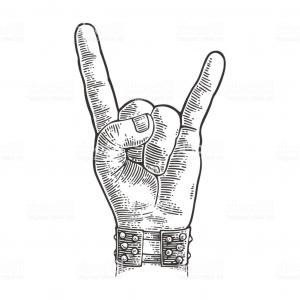 Rock Art Hands Vector: Rock And Roll Hand Sign Vector Black Vintage Engraved Illustration Gm