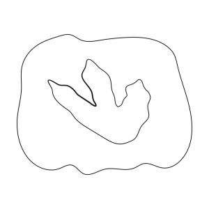 Footprint Outline Vector: Rock With Dinosaur Footprint Icon In Outline Style Vector