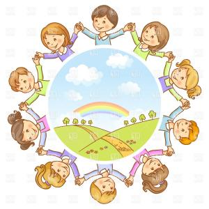 Friendship Symbol Vector: Round Dance Of Happy Children Symbol Of Peace And Friendship Vector Clipart