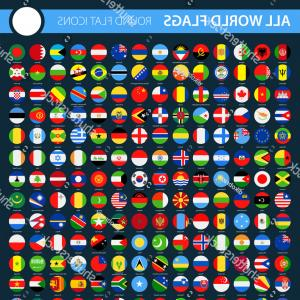 Vector Round Name List: All World Flags On Black Background