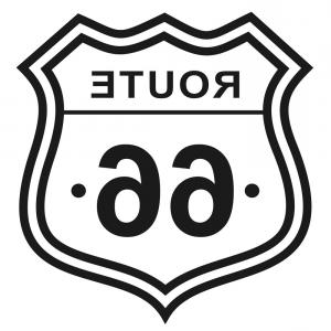 Route 66 Logo Vector: Route Flat Color On White Vector