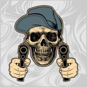 Outlaw Skull Vector: Royalty Free Clip Art Vector Logo Of A Cowboy Aiming A Double Barrel Rifle By Chromaco