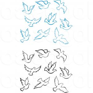 Doves In-Flight Vector Art: Royalty Free Clip Art Vector Logos Of Blue And Black Doves Flying By Vector Tradition Sm