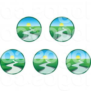 Creek Vector: Stock Illustration Summer Vector Landscape Landscape For
