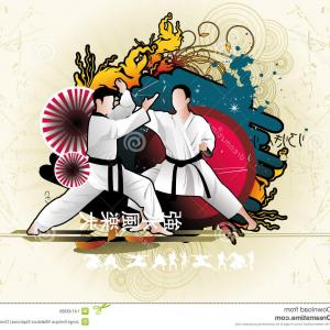 Karate Vector: Stock Photography Karate Vector Competition Womens Kategory Silhouette Image