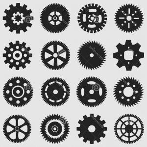 Vector Mechanical Clock Wheels: Clock Gears Outline Icons Set Clock Or Vector