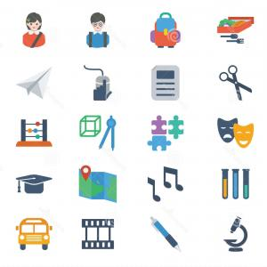 Free Vector Flat Education Icons: Royalty Free Stock Photos School Education Icons Set Modern Colorful Flat Style Vector Theme Image