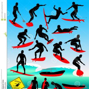 Waves With Surfer Silhouette Vector: Royalty Free Stock Images Silhouette Surfer Sea Waves Surfing Extreme Sports Point Break Vector Sport Image