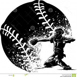 Softball Catcher Vector: Monochrome Silhouette With Baseball Catcher Vector