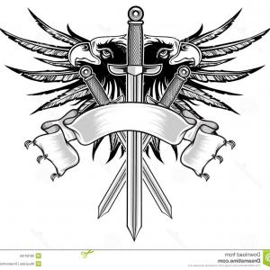 Vector Eagle Shield Sword: Winged Shield With Crown And Ribbon Vector Clipart