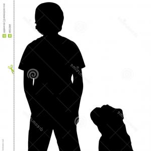 Little Boy Silhouette Vector: Running Kite Boy Silhouette Vector