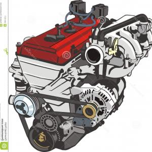 Diesel Engine Block Vector: Cylinder Block Piston Fourcylinder Engine Diesel