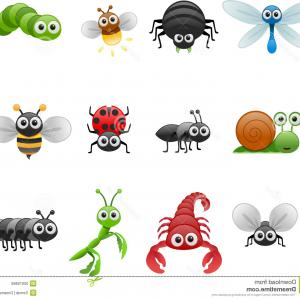 Bug Vector Art: Cartoon Insects Vector Cute Insect Collection Fly And Ladybug Mantis And Wasp Bug Gm