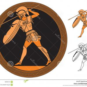 Greek Warrior Stock Vector: Photostock Vector Spartan With Spear And Shield Strong Greek Warrior In Helmet