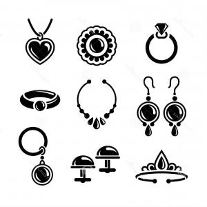 Jewelry Vector Line Art: Crown Set Vector Line Art Jewelry