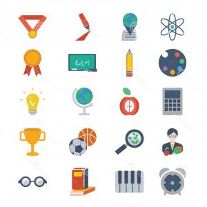Free Vector Flat Education Icons: Stock Illustration Set Modern Flat Design Education Icons Creative Concepts Elements Mobile Web Applications Vector Image