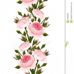 Free Rose Vector: Royalty Free Stock Photos Seamless Vertical Border Pink Roses Vector Illustration English Rose Buds White Background Image