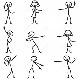 Yoga Stick Figure Vector: Royalty Free Stock Photos Stickman Stick Figure Pointing Showing Directions Set Vector Figures Image