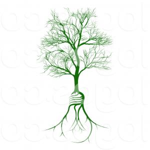 Heart Root Tree Vector Free: Royalty Free Vector Logo Of A Leafless Deciduous Tree With Lightbulb Root System By Atstockillustration