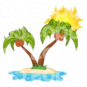 Palm Tree Clip Art Vector: Royalty Free Vector Of A Double Coconut Palm Tree Island And Sun Logo By Hit Toon