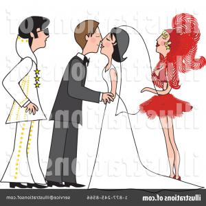 Married In Vegas Vector Art: Cute Bride And Groom Wedding Couple Holding Hands