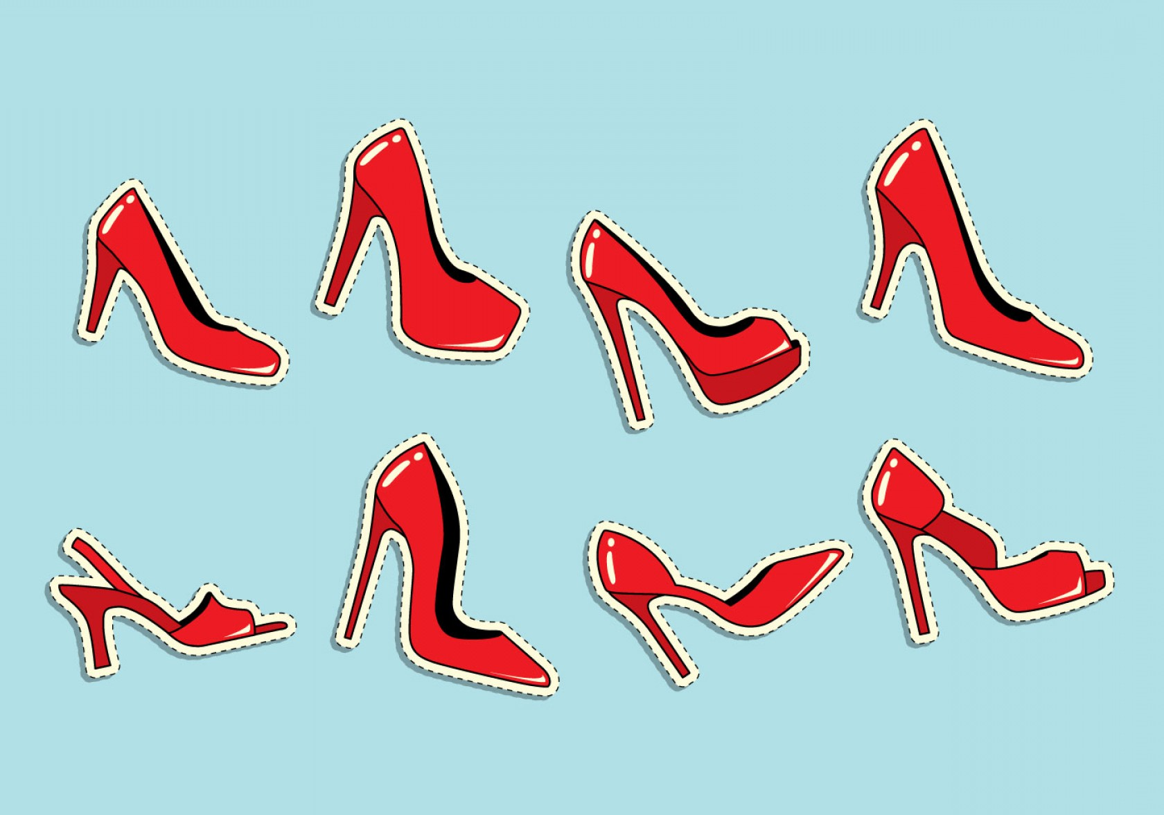 Ruby Red Slippers Vector Art: Ruby Slippers Icon Set Vector