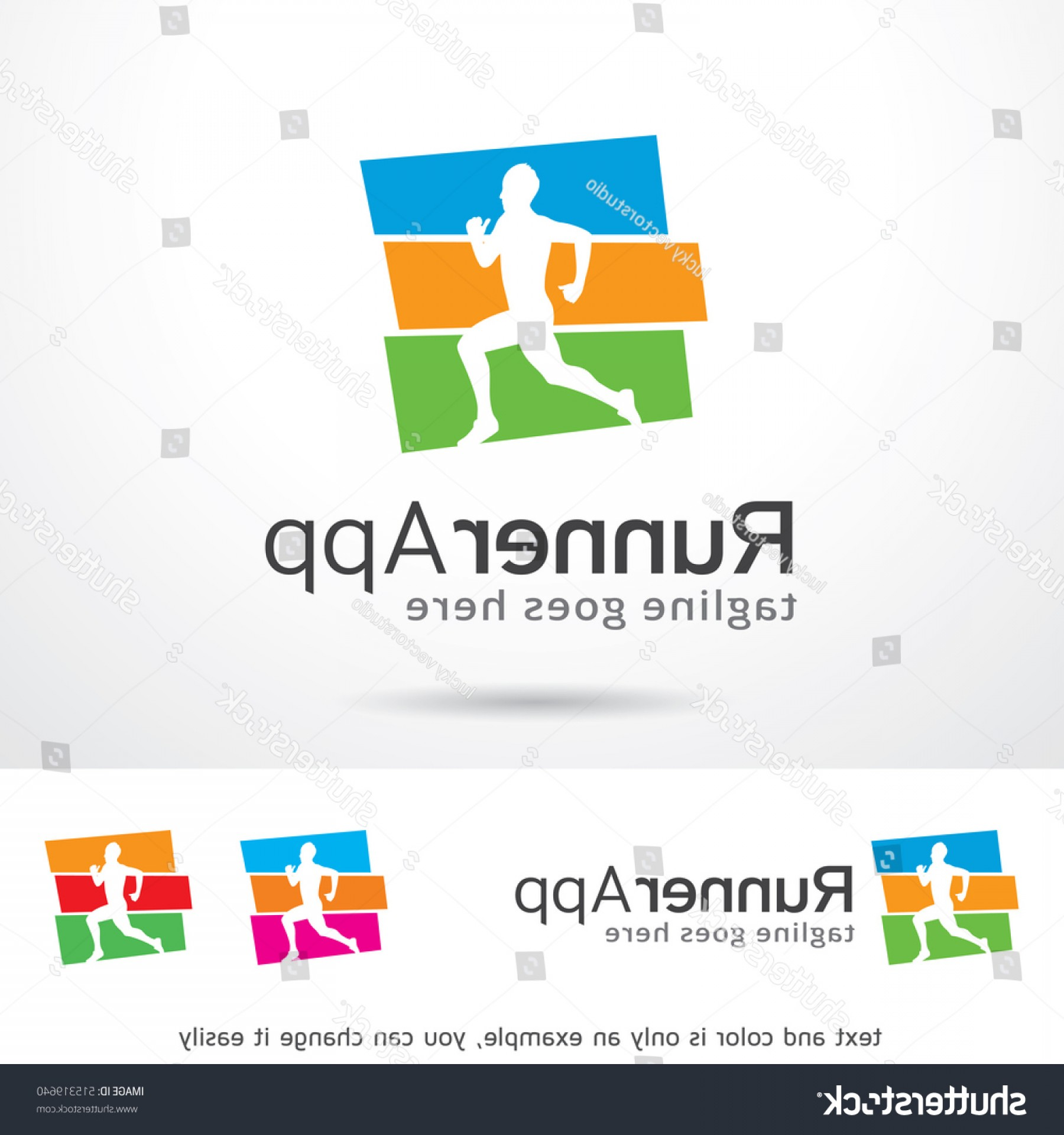 Shutterstock Vector Design With Runner: Runner App Logo Template Design Vector