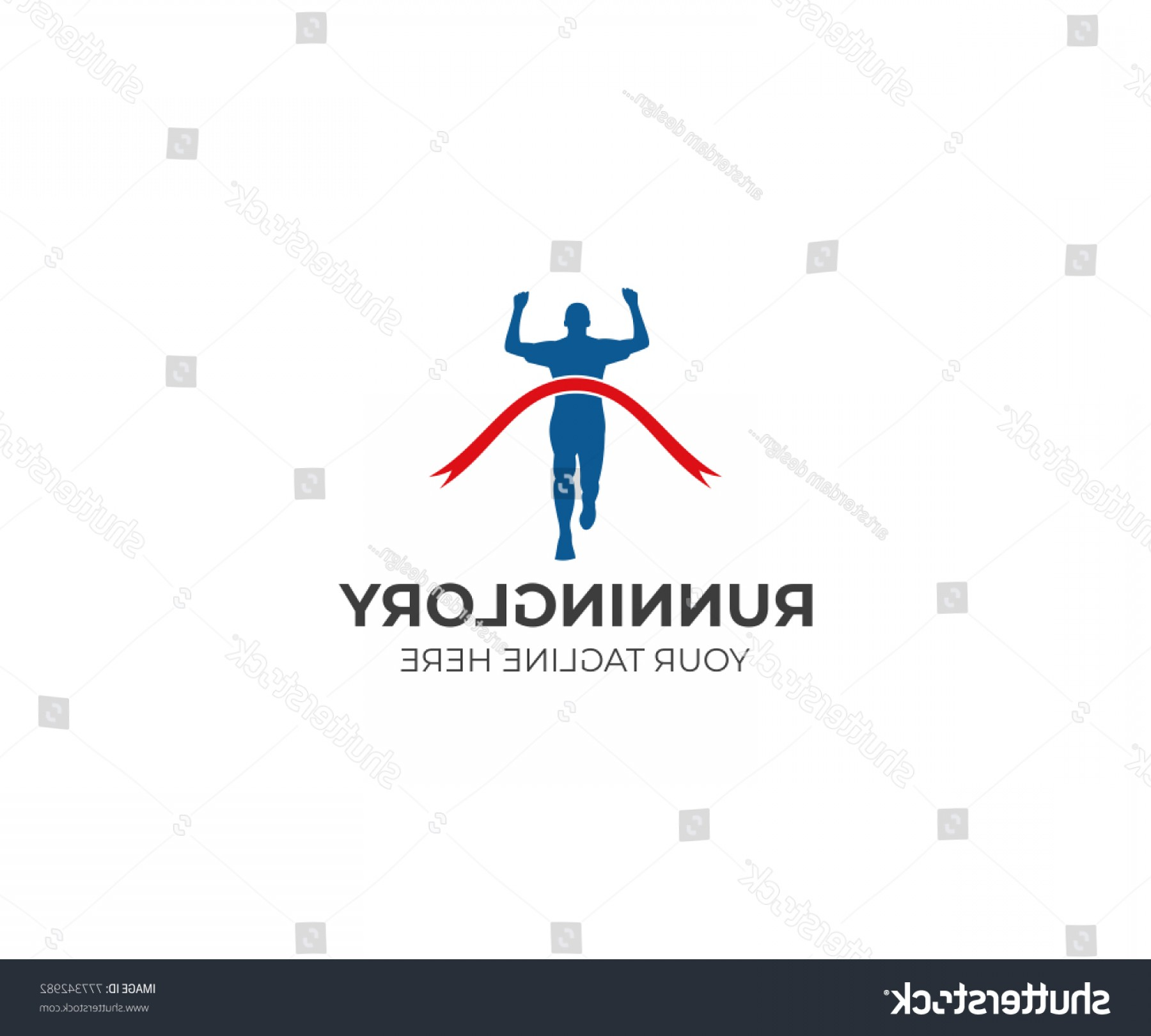 Shutterstock Vector Design With Runner: Runner Logo Template Finish Ribbon Vector