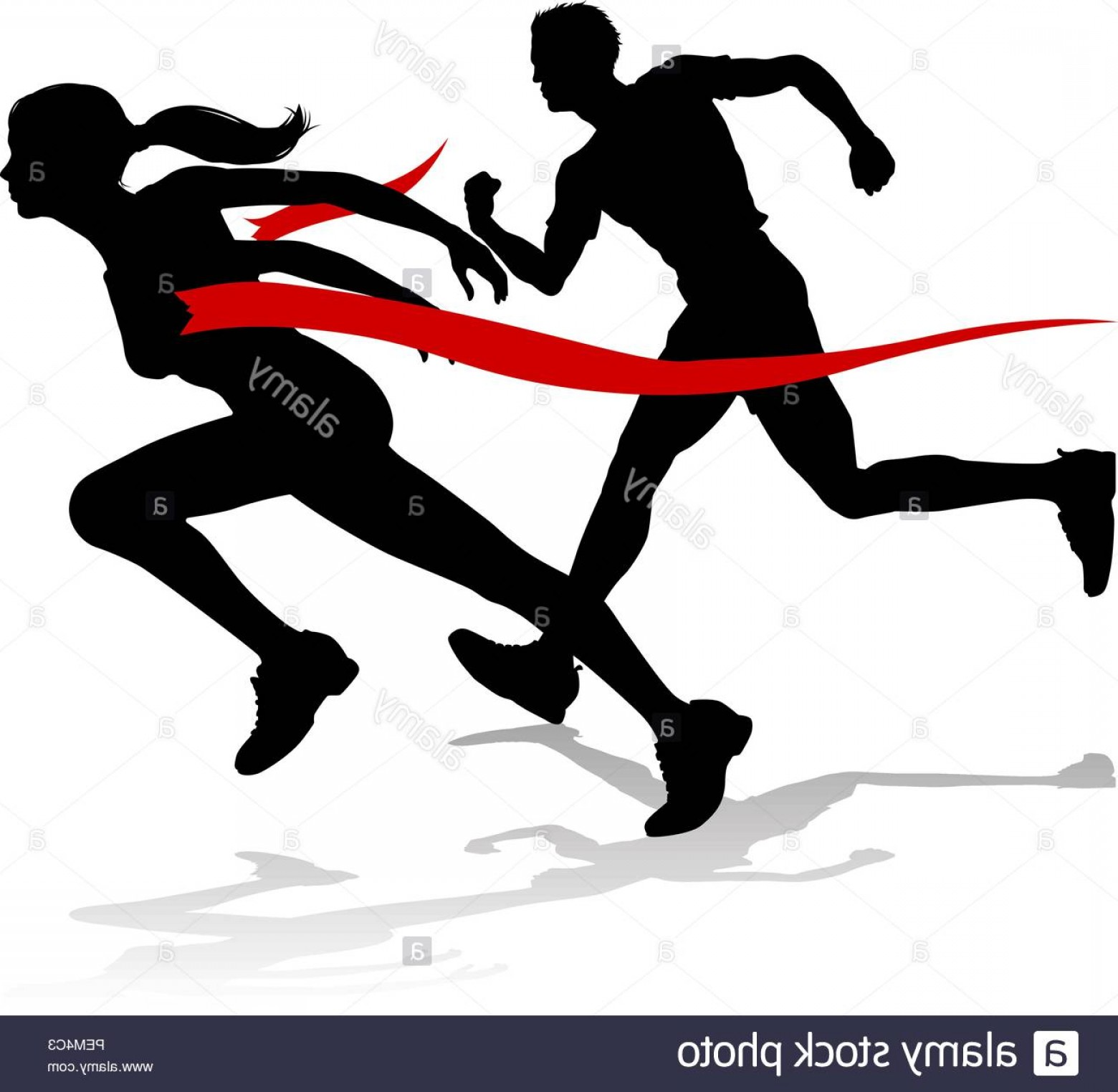 Vector Silhouette Of Girl Running Track: Runner Race Finish Line Track And Field Silhouette Image