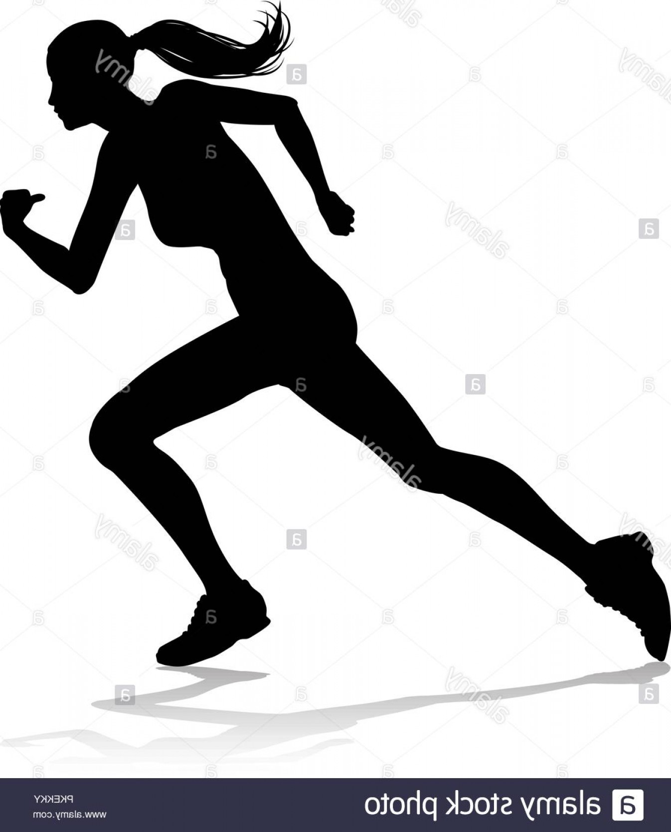 Vector Silhouette Of Girl Running Track: Runner Racing Track And Field Silhouette Image
