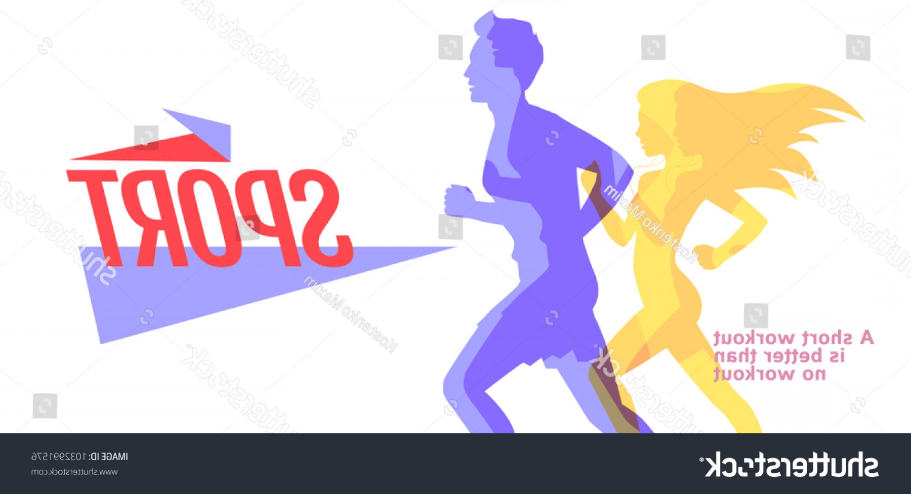 Shutterstock Vector Design With Runner: Runners Colorful Silhouettes Running Man Woman