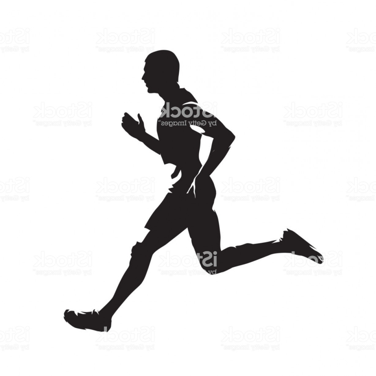 Vector Silhouette Of Girl Running Track: Running Man Isolated Vector Silhouette Sprinting Runner Gm