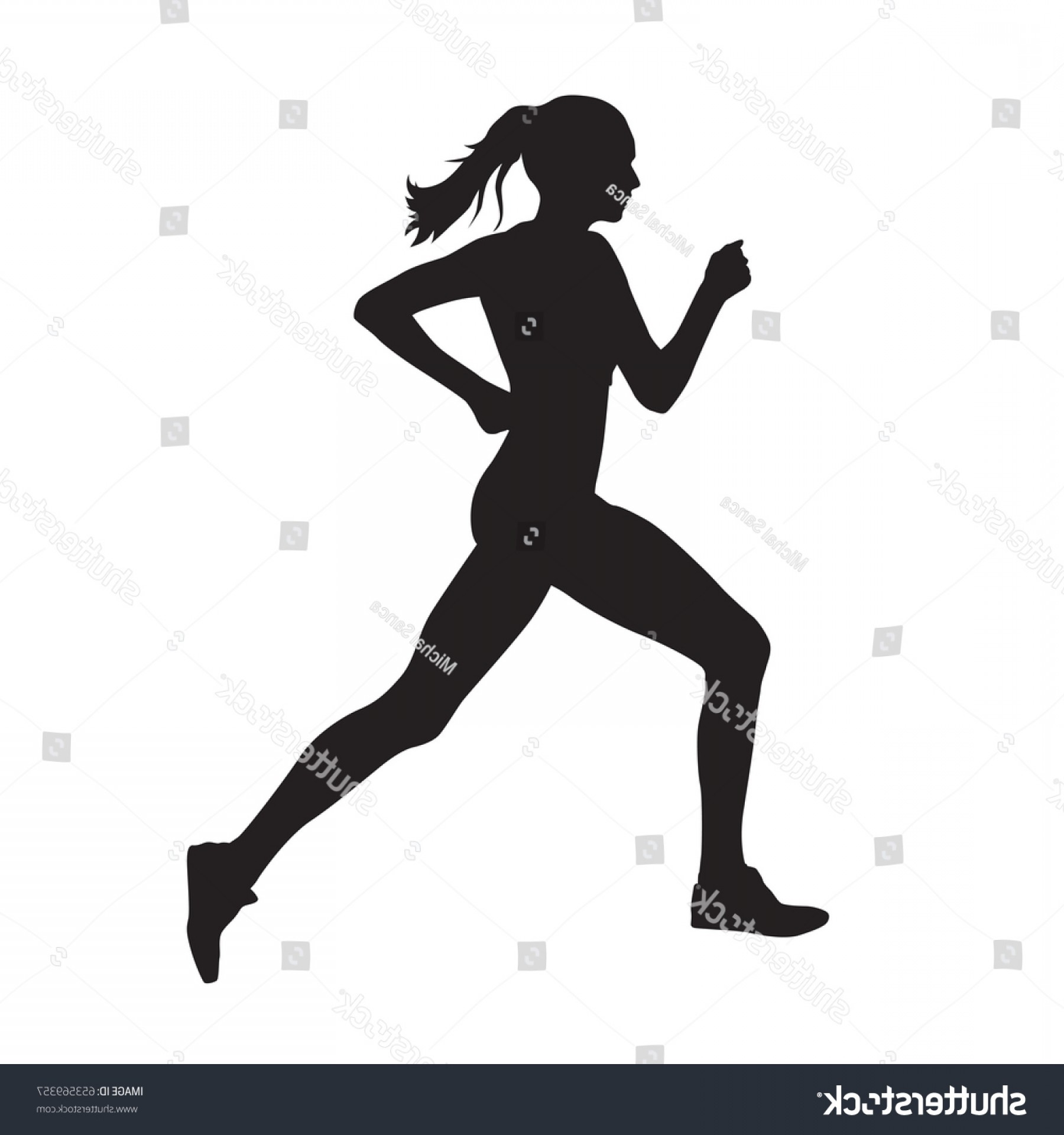 Vector Silhouette Of Girl Running Track: Running Woman Side View Vector Silhouette