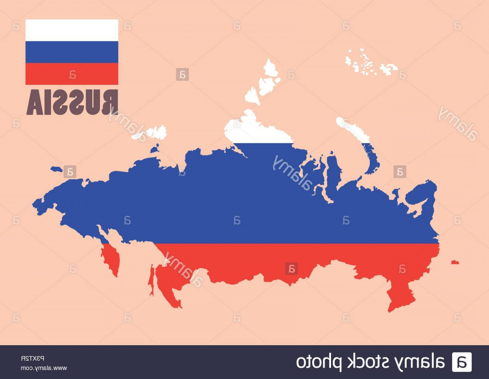 BG Vector Map: Russia Map With Flag Background Vector Illustration Image