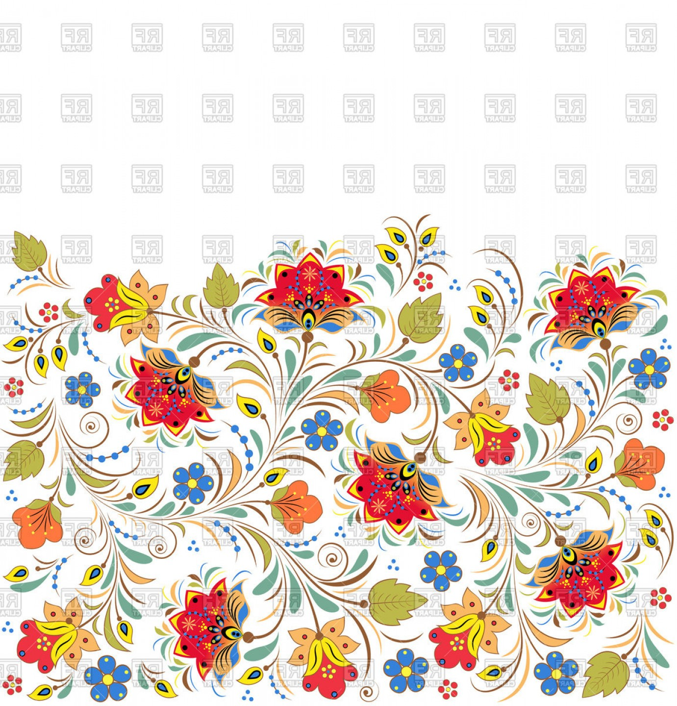 Russian Patterns Vector: Russian Floral Khokhloma Pattern Vector Clipart