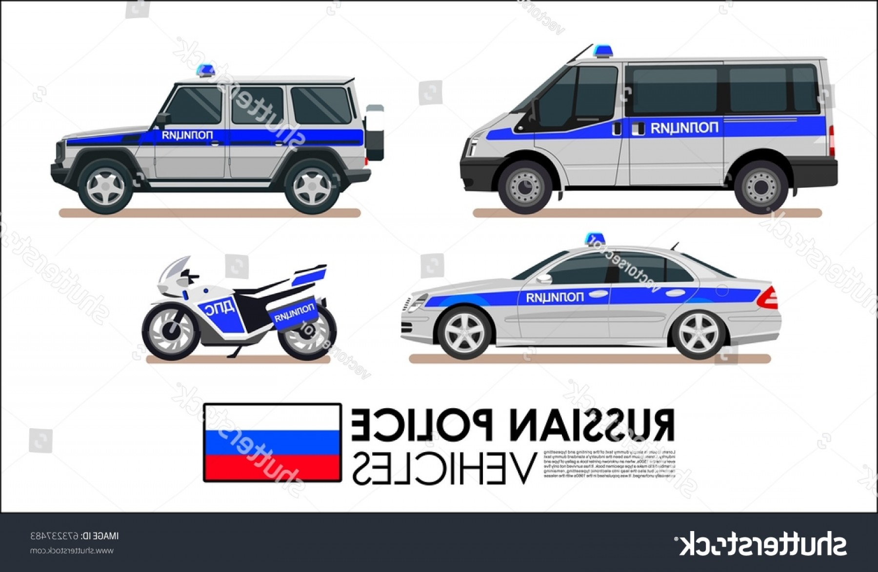 Custom Police Cars Vector: Russian Police Car Vehicles Van Motorcycle