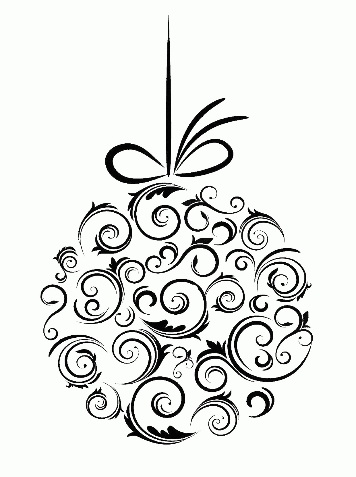 Black And White Christmas Ornament Vector Art: Rustic Christmas Clipart Black And White Present