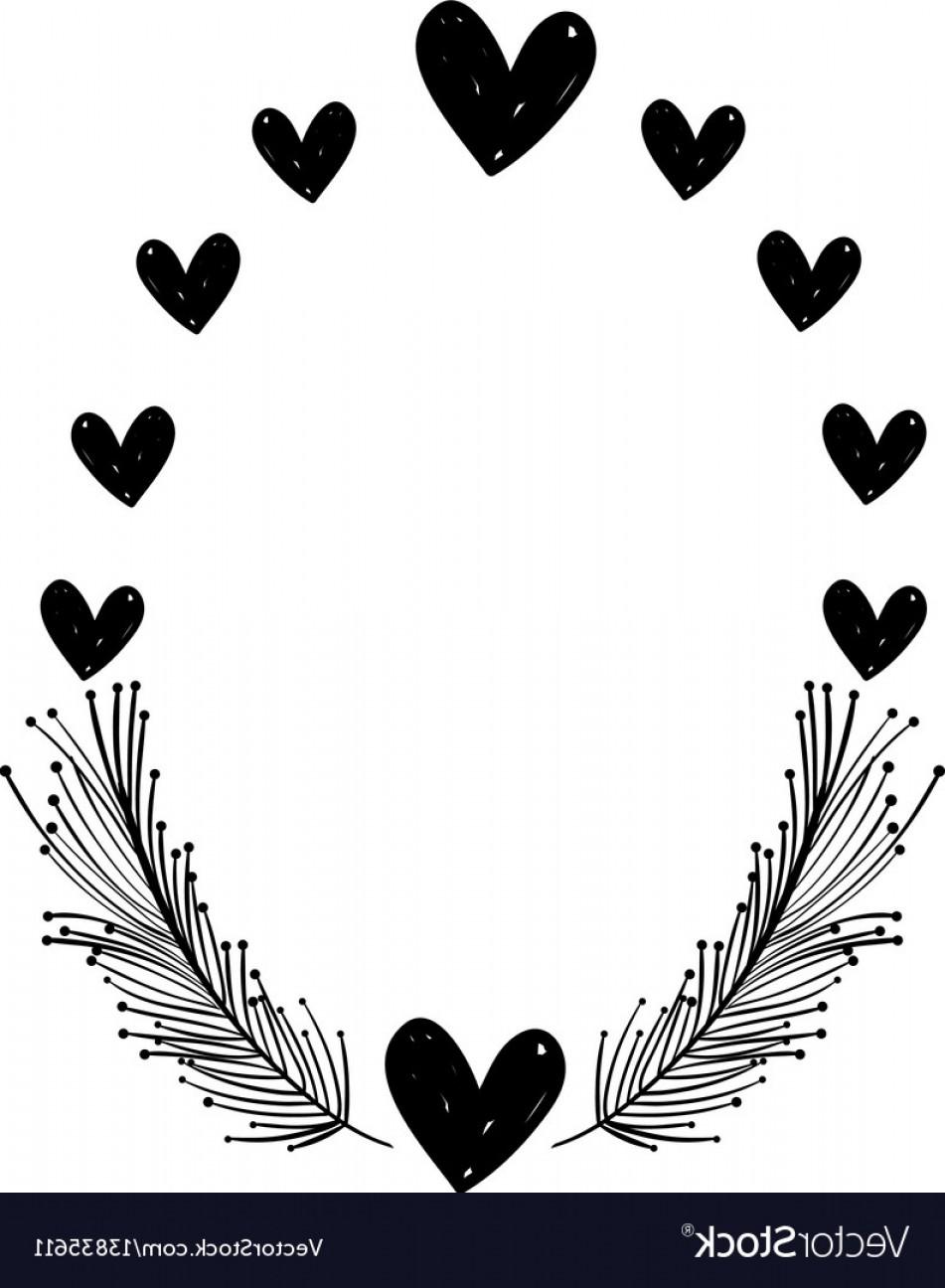 Rustic Heart Vectors: Rustic Feathers With Hearts Decoration Design Vector
